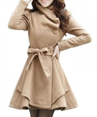 Women's Fold-Collar Tie Front Wool Coats with Skirted Hem MZX1272(Camel,US-Medium/Asian X-Large)