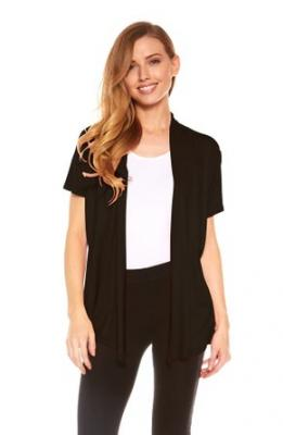 Womens Basic Short Sleeve Draped Open Front Cardigan in Solid Colors (Black -S)