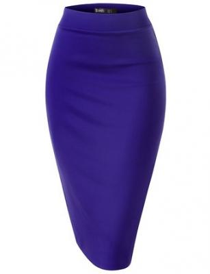 Thanth Womens Elastic Waist Band Scuba Fabric Pencil Skirt, ROYALBLUE, XS