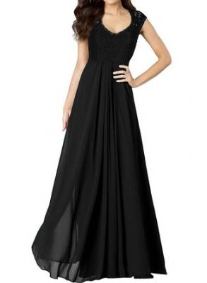 Miusol Women's Casual Deep- V Neck Sleeveless Vintage Maxi Black Dress Small
