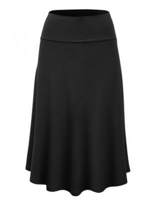 LL WB1105 Womens Lightweight Fold Over Flared Midi Skirt M BLACK