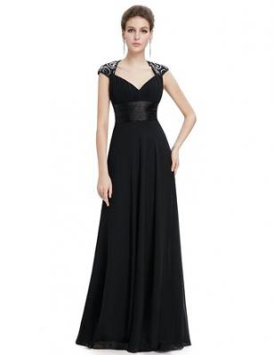 Ever Pretty Womens V Neck Ruched Bust Long Evening Dress 4 US Black