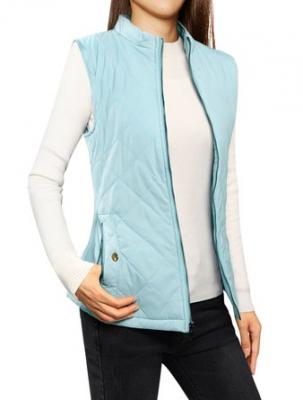 Allegra K Woman Stand Collar Zippered Quilted Padded Vest Baby Blue XS