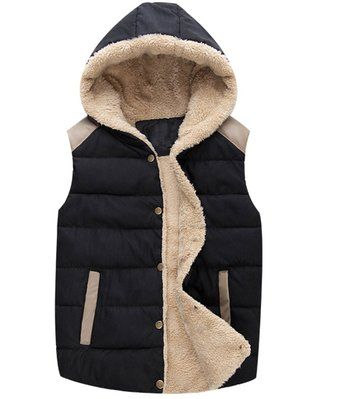 Z-SHOW Women's Sport Casual Slim Thick Hooded Vest,US-Small/ASIAN-Large,Black