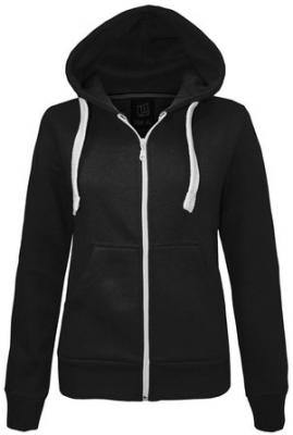 NEW LADIES WOMENS PLAIN HOODIE HOODED ZIP TOP ZIPPER SWEATSHIRT JACKET COAT Black UK 14 / AUS 16 / US 10