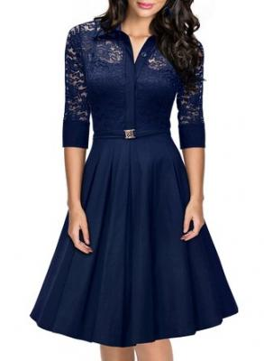 Missmay® Women's Vintage 1950s Style 3/4 Sleeve Black Lace Flare A-line Dress (Small, Royal Blue)