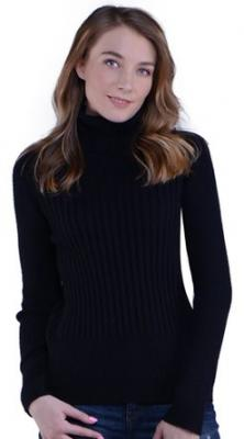 Knit&love Women's Classic Turtleneck Long Sleeve Sweater (M, Black)