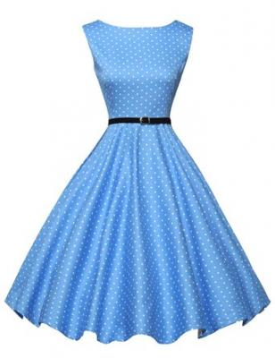 50s Vintage Dress for Women Polka Dots Short Size 3XL F-1