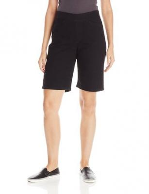Chic Classic Collection Women's Relaxed Fit Flat Front Elastic Waist Bermuda Short, Black Denim, 6