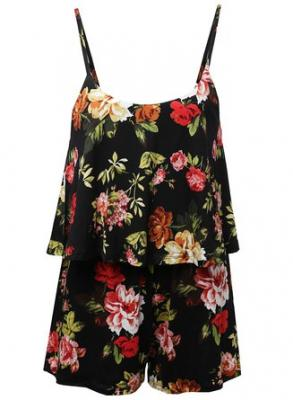 Sleeveless Floral Print Knit Overlay Romper Jumpsuit Black Size S