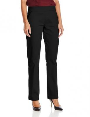 Lee Women's Natural Fit Pull On Dana Barely Bootcut Pant, Black, 6 Medium