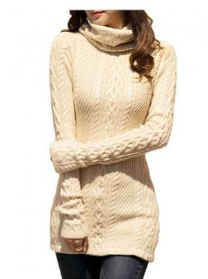 V28® Women Polo Neck Knit Stretchable Elasticity Long Sleeve Slim Sweater Jumper (US SIZE 0-4, Beige)