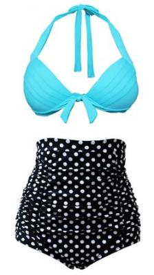 Cocoship Vintage Light BLue Top Black White Polka Bottom High Waisted Bikini Swimsuits Bathing Suit S(FBA)
