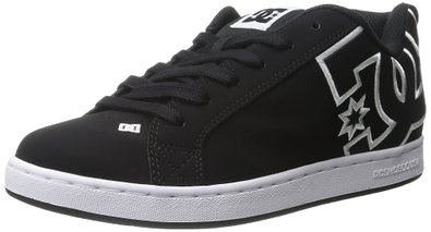 DC Women's Court Graffik Skate Shoe, Black/Black/White, 5 M US