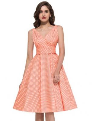 PAUL JONES Womens Polka Dots Vintage Party Dress Color B(3XL)