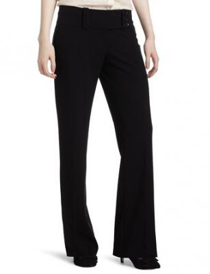 My Michelle Juniors Wide Waist Band 3 Button Tab Pant, Black, 1