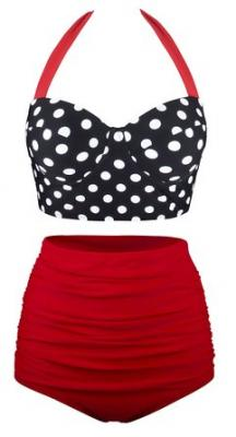 Angerella Polka High Waisted Cute Bikini Swimwear Bathing Suit(BKI046-B1-2XL)