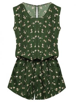 OURS Women Round Neck Sleeveless Cut Out Back Pockets Casual Romper Jumpsuit (S, Army Green #)