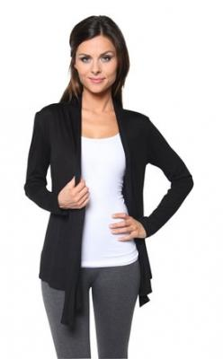 Plus Size Open Front Cardigan, Black, 1X