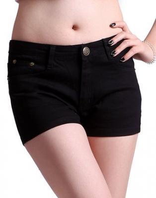 HDE Women's Solid Color Ultra Stretch Fitted Low Rise Moleton Denim Booty Shorts (Black, X-Small)