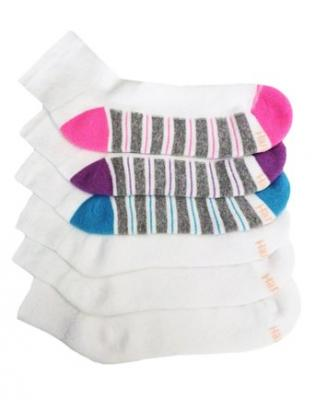 Hanes ComfortBlend Women`s Ankle Socks, 403/6P, 5-9, White/Pink
