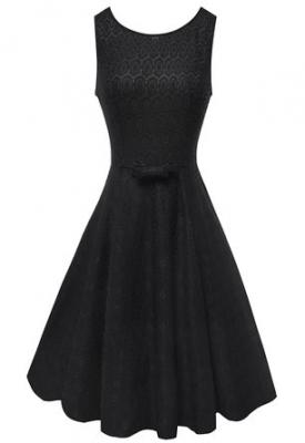 Anni Coco® Women's 1950s Audrey Hepburn Lace Crochet Vintage Evening Dress Black Small