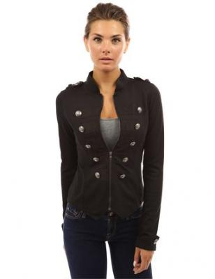 PattyBoutik Women's Zip Front Stand Collar Military Light Jacket (Black XS)