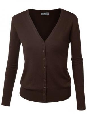 BIADANI Women Button Down Long Sleeve Basic Soft Knit Cardigan Sweater Brown Large
