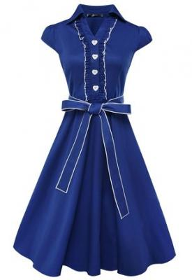 Anni Coco® Women's 1950s Cap Sleeve Swing Vintage Party Dresses Blue Small