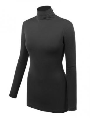 LL WSK1030 Womens Long Sleeve Ribbed Turtleneck Pullover Sweater S BLACK