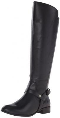 Anne Klein Women's Kahlan Leather Riding Boot, Black Leather, 5 M US