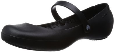 crocs Women's Alice Mary Jane Flat,Black,4 M US