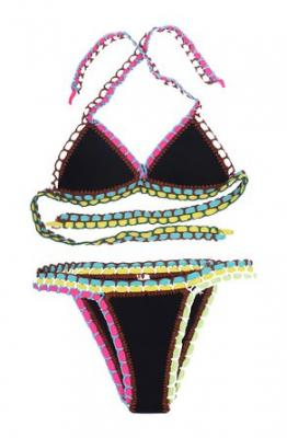 Happy Sailed Women's Hand Knitted Crochet Neoprene Triangle Bikini Bra Set Swimsuit, Small Black