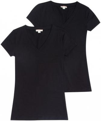 TL Women's 2 or 3 or 4 Pack Basic Cotton Short Sleeves Solid V-neck T-shirts SET2-BLK_BLK
