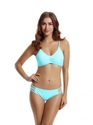 zeraca Women's Strap Side Bottom Halter Racerback Bikini Bathing Suits (XS2, Aqua Sky )