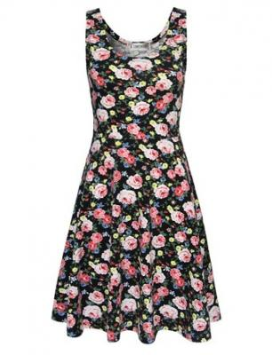 Tom's Ware Womens Casual Fit and Flare Floral Sleeveless Dress TWCWD054-BLACKPINK-US S