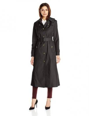 London Fog Women's Long Maxi Trench Coat, Black, X-Small