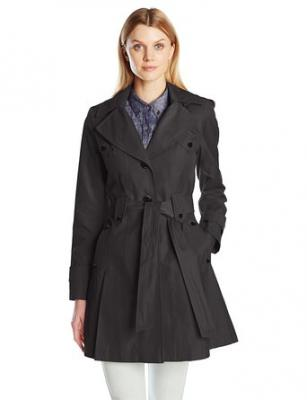 Via Spiga Women's Skirted Single Breasted Trench Coat, Black, X-Small