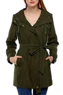 ANGVNS Women Front Zip Long Sleeve Hoodie Windcoat Trench Coat Army Green S