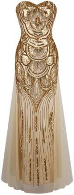Angel-fashions Women's Sequin Strapless Sweetheart Mesh Lace up Banquet Dress Small Gold