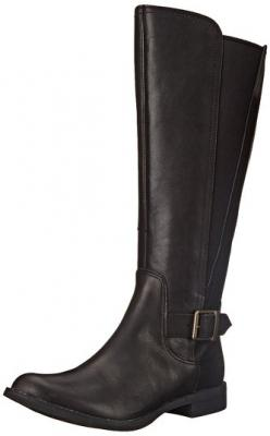 Timberland Women's Savin Hill All Fit Tall Boot, Black Smooth, 5.5 M US
