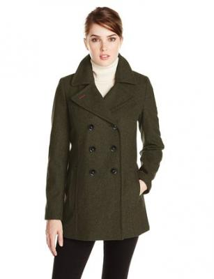 Tommy Hilfiger Women's Double Breasted Classic Peacoat, Heather Olive, X-Small