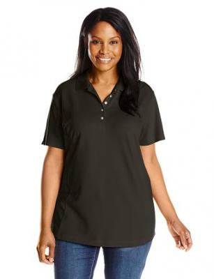 Riders by Lee Indigo Women's Plus-Size Morgan Short Sleeve Polo Shirt, Black Soot, 1X