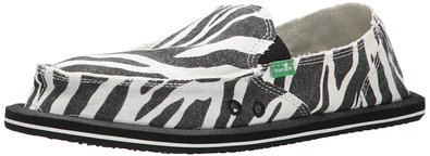 Sanuk Women's I'm Game Sidewalk Surfer Slip-On, Zebra Black/White, 5 M US