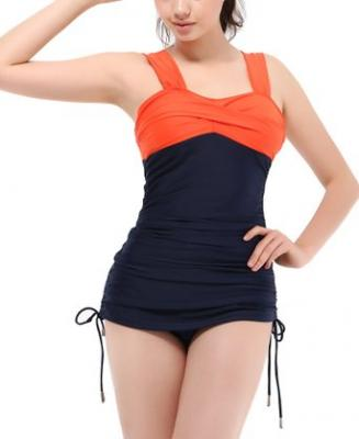 Women's Retro Sexy Colorblock Open Back One Piece Monokini SwimSuit Bathing Swimming Suits Swimwear Dress Orange Navy S