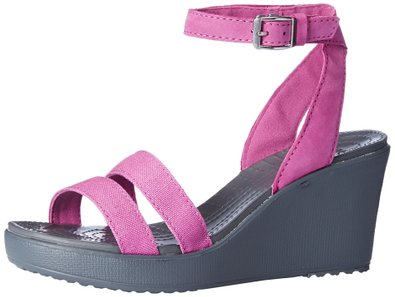 crocs Women's Leigh Wedge, Wild Orchid/Charcoal, 4 B(M) US
