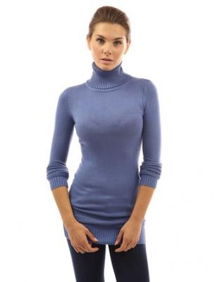 PattyBoutik Women's Turtleneck Long Sleeve Sweater (Blue XS)