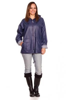 RAIN SLICKS Women's Classic Look Raincoat Hooded Plaid Lined Waterproof Jacket Navy XX-Large