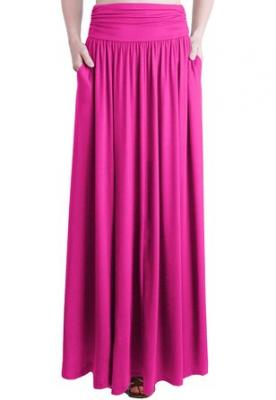 TRENDY UNITED Women's Rayon Spandex High waist Shirring Maxi Skirt with Pockets (HPNK, Small)