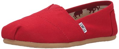 TOMS Women's Classic Canvas Slip-on,Red,11 M